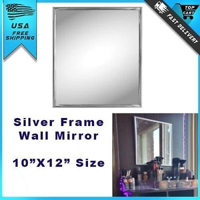 "Small Wall Mount Mirror Modern Silver Frame Trim Bathroom Home Decor 10"" x 12"""