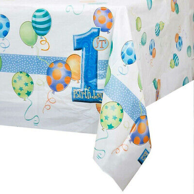 First Birthday Blue Plastic Tablecover](First Birthday)