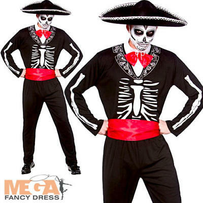 Mariachi Day of the Dead & Hat Mens Fancy Dress Halloween Skeleton Adult Costume