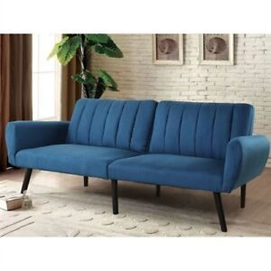Modern Mid-Century Classic Blue Linen Sleeper Sofa Bed .FF-43322