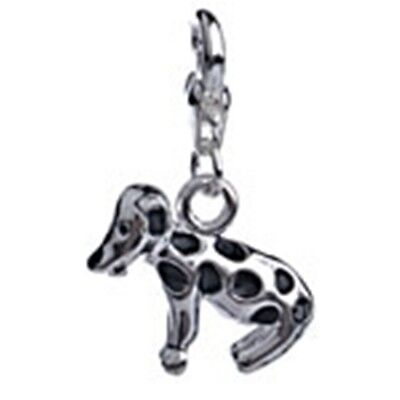Antiqued Silver 3D Spotted Dog Enamel Lobsterclaw Clip-On Dangle Charm -