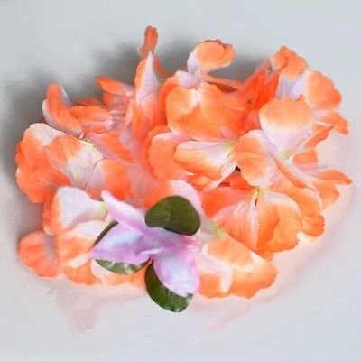 Orange Leis (Premium Orange Hawaiian Crown Lei Headband Paradise Petunia with Orchids)