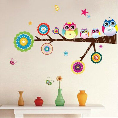 Star Owl Butterfly Tree Removable Vinyl Wall Decal Sticker Home Decor Kids Room