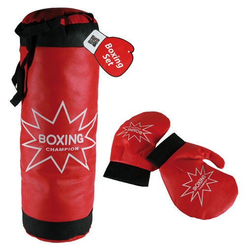 NEW KIDS BOXING PUNCH BAG SET GLOVES CHILDRENS BOYS TRAINING MITTS KIT HANGING