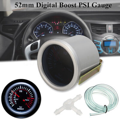 2'' 52mm Car LED Digital Turbo Boost Vacuum Pressure Gauge Meter Lens Bar 12V
