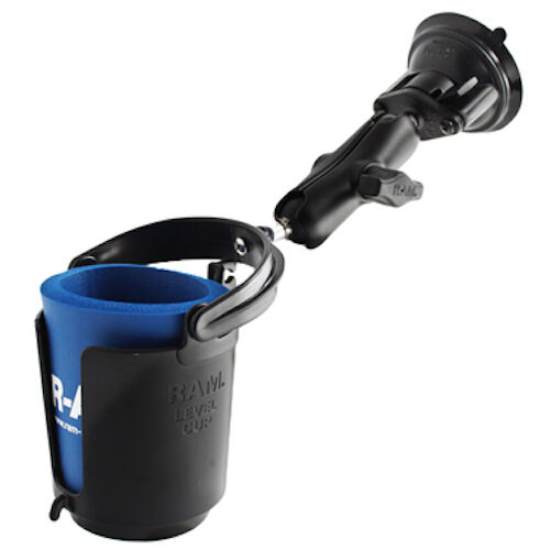 RAM Mount Self Leveling Cup Holder Aluminum Locking Suction Cup Mount
