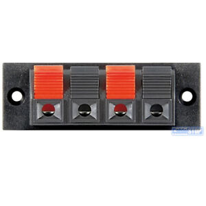 4 WAY SPEAKER WIRE TERMINAL Wall Panel Plate Input PUSH TYPE for Audio Cable