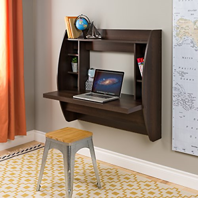 Prepac Wall Mounted Floating Desk with Storage in Black Finish BEHW-0200-1 New