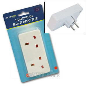 TWIN EUROPEAN MULTI DOUBLE PLUG TRAVEL ADAPTER UK TO EU EURO MAINS CONVERTOR