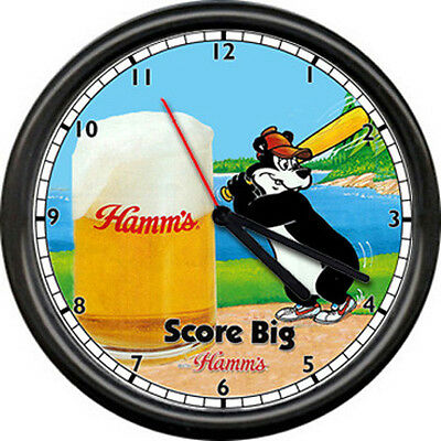 A Hamm's Hamms Baseball Costume Beer Bear Bar Tavern Sign Wall Clock