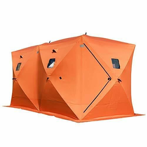 8 Person Ice Fishing Shelter, Pop-Up Portable Insulated Ice Fishing Tent