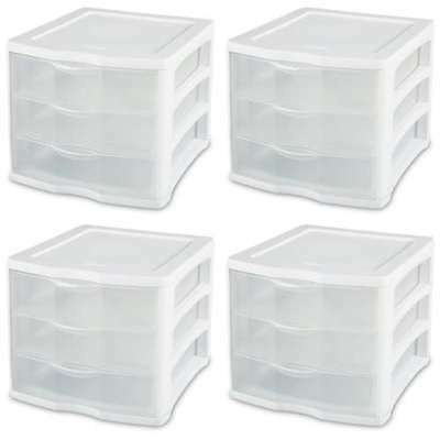 (4 Sterilite ClearView Portable 3 Storage Drawer Organizer Cabinets (Open Box))