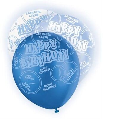 Blue Glitz Happy Birthday Pack Of 6 Latex Party Balloons Suit Air Or Helium ()