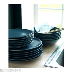 Ikea dinera servizio piatti 18 pezzi blu grigio ebay - Servizio piatti quadrati ikea ...