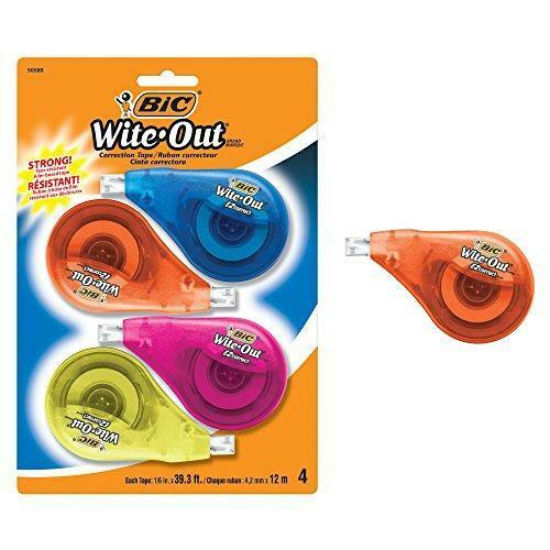 Bic Clean Wite-Out Brand Ez Correct Correction Tape, 4-Count, 5.25 X .75 X 8.125