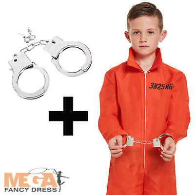 Orange Prison Overalls + Handcuffs Boys Fancy Dress Halloween Kids Child Costume ()