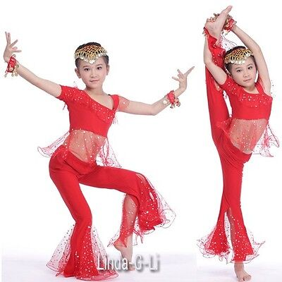 Kids Girls Belly Dance Top+Pants Set Outfit sequins Bollywood Dance Costume  - Pants Costume