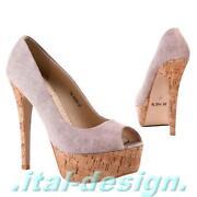 Neu Designer Damen Schuhe Pumps Plateau High Heels Peep