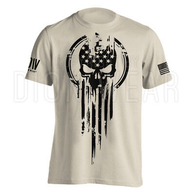 American Warrior Flag Skull Military T Shirt Army S 3Xl