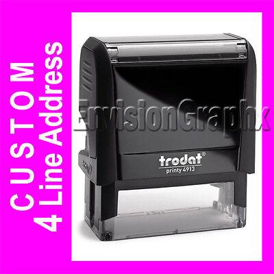 Custom 4 Line Return Address Self Inking Rubber Stamp Trodat 4913 Stamper