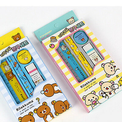 1set Rilakkuma Stationery Set Wooden Pencil Eraser Sharpener Ruler School Supply