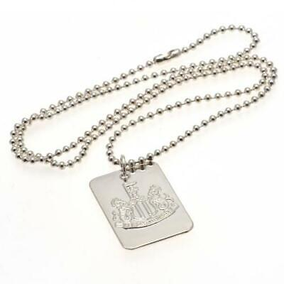 Official NEWCASTLE UNITED FC Silver Plated Dog Tag & Chain Necklace NUFC Gift