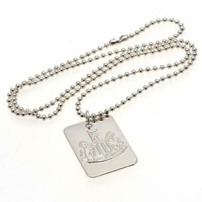 Official NEWCASTLE UNITED FC Silver Plated Dog Tag & Chain Necklace NUFC...