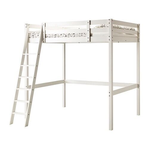 Stora loft bed frame from Ikeain Bishopbriggs, GlasgowGumtree - Good condition. White stain. Ladder can be mounted on left or right. Dismantled. Length 213 cmDistance from floor to bed base 176 cmWidth 153 cmHeight 214 cm