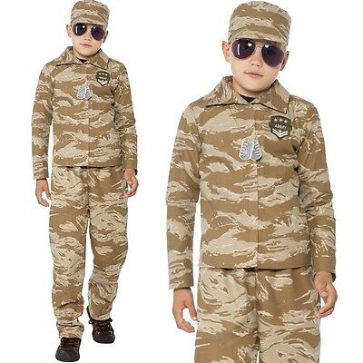 Childrens Boys Desert Army Soldier Fancy Dress Costume Kids Outfit by Smiffys - Desert Army Costume