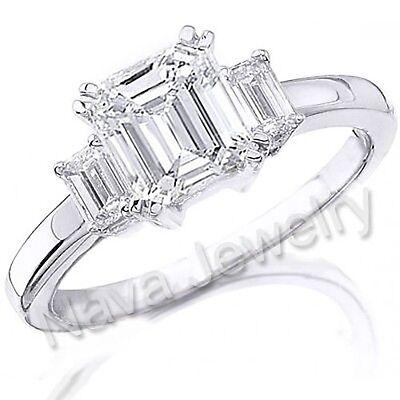 1.90Ct Emerald Cut Diamond Engagement Ring VVS1-I GIA Certified