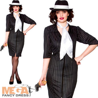 Gangster Gal Ladies Fancy Dress Mafia Moll 1920s Womens Adults Costume Outfit (Moll Outfit)