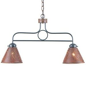hanging pendant light in rustic tin w chisel country kitchen lights