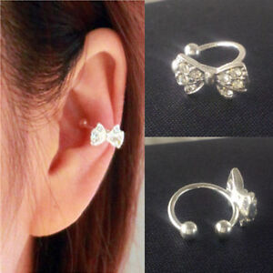 Fashion 1pc Bowknot Bow Rhinestone Crystal Lady Ear Cuff Earring Clip on New