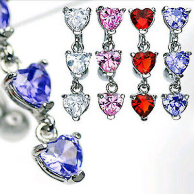 Reverse Heart Gem Dangle Belly Ring Navel Naval Clear, Pink, Red or Purple](Heart Gem)