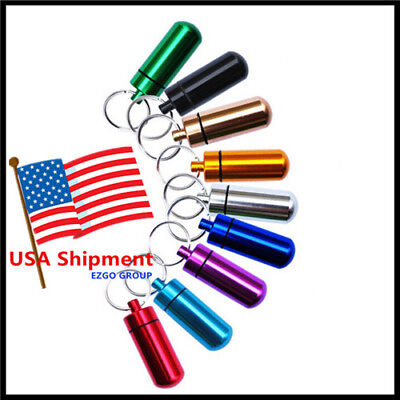 Waterproof 9Pcs Aluminum Pill Box Case Bottle Drug Holder Keychain Container Usa