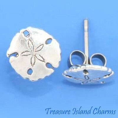 Sterling Silver Sand Dollar Sea Cookie Shell Hypo-Allergenic Stud Post Earrings - Sand Dollar Cookies