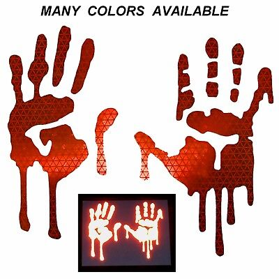 Bloody Hands (High Intensity REFLECTIVE Dripping Bloody Hands Decals Stickers Helmet Car)