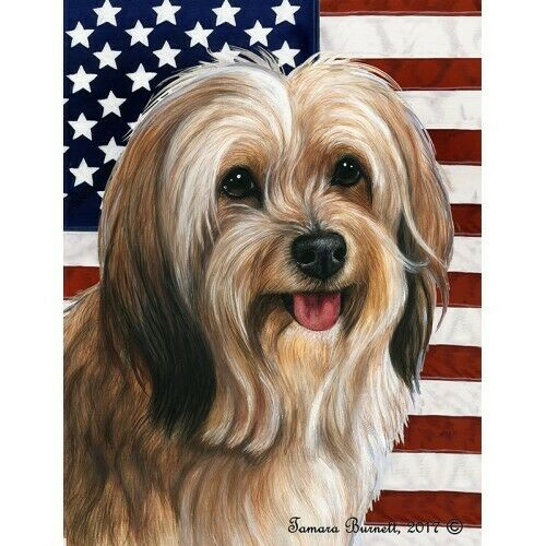 Patriotic (D2) House Flag - Red Sable Tibetan Terrier 32480