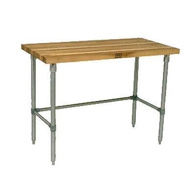 John Boos Snb10 Wood Top Work Table Stainless Bracing 72w X 30d