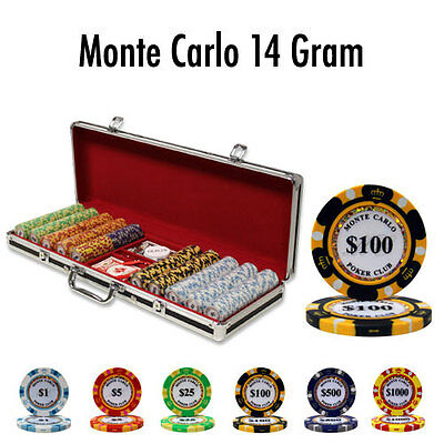 New 500 Monte Carlo 14g Clay Poker Chips Set Black Aluminum Case - Pick Chips!