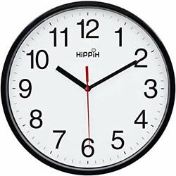 Black Wall Clock Silent Non Ticking Quality Quartz Battery Operated 10Inch Round