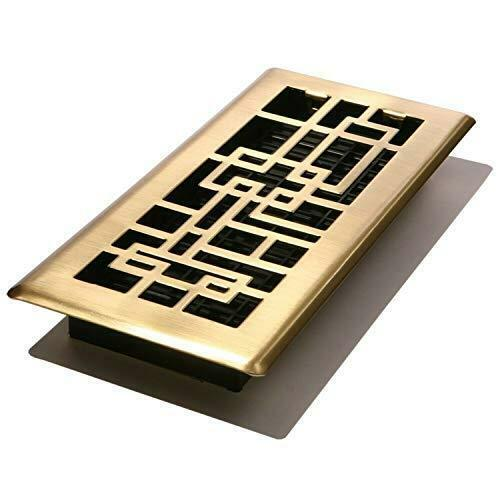 Decor Grates ABH410-SB Abstract Floor Register, Satin Brass Finish, 4-Inch by