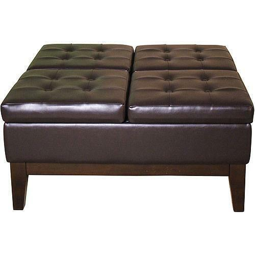 Faux Leather Storage Ottoman Ebay
