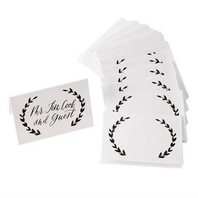 David Tutera™ Black & White Laurel Wreath Place Cards - Black Place Cards