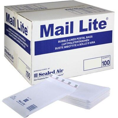 10 BAGS - D/1 - 180 x 260MM - WHITE MAIL LITE BUBBLE PADDED POSTAL ENVELOPES