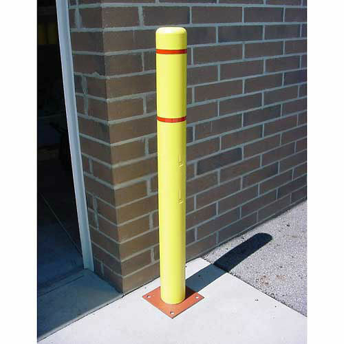 """Bollard Cover, 4""""x 52"""", Yellow Cover with Red Tapes"""