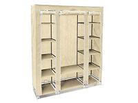Triple Canvas Fabric Wardrobe Hanging Rail Shelving Home Storage 135*45*175cm