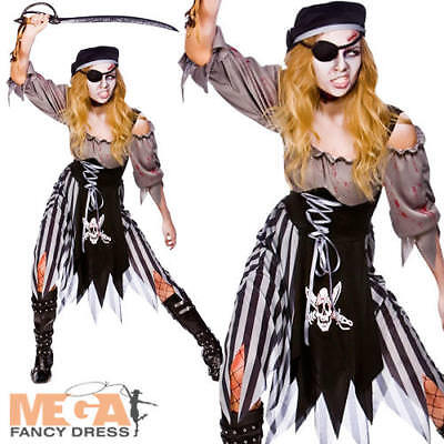 Zombie Pirate Ghost Ladies Halloween Fancy Dress Horror Womens Adults Costume ](Zombie Ghost Pirate Costume)
