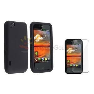 For LG Maxx Touch E739 Mytouch T-Mobile Black Rubber Hard Skin Cover Case+Film