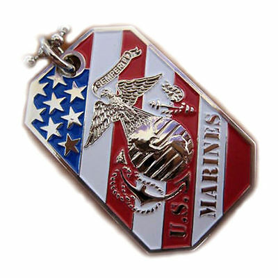 USMC MARINE CORPS EAGLE GLOBE ANCHOR EGA CREST USA FLAG DOG TAG PENDANT NECKLACE